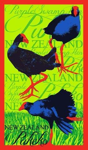 PK-65159 - TeaTowel Pukeko - New Zealand Gifts & Souvenirs