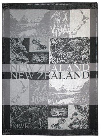 PK-65175 - TeaTowel Jacquard Scenic Black Greys - New Zealand Gifts & Souvenirs