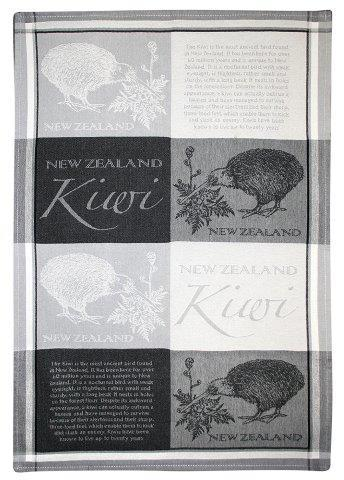 PK-65177 - TeaTowel Jacquard NZ Kiwi Greys - New Zealand Gifts & Souvenirs