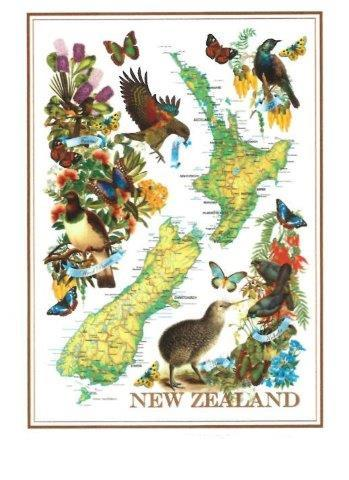 PK-65180 - TeaTowel Designer TeaTowel Map - New Zealand Gifts & Souvenirs