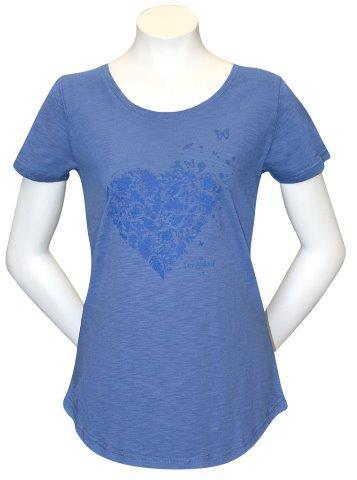 PK-70290 - T-Shirt Sea to Sky Heart Blue Marl Ladies - New Zealand Gifts & Souvenirs