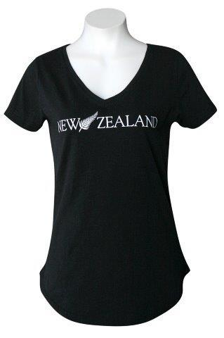 PK-70310 - T-Shirt Sea to Sky NZ Fern Black Ladies - New Zealand Gifts & Souvenirs