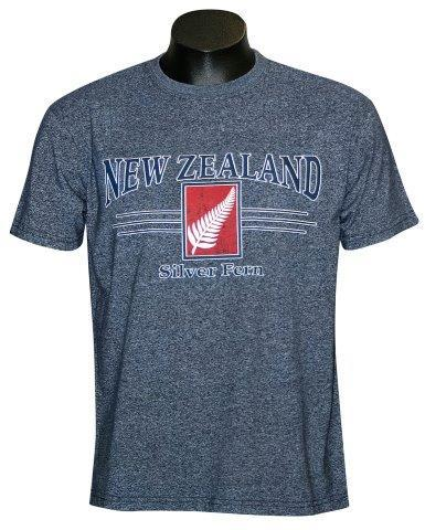 PK-70335 - T-Shirt Sea to Sky Fern Navy Marl Mens - New Zealand Gifts & Souvenirs