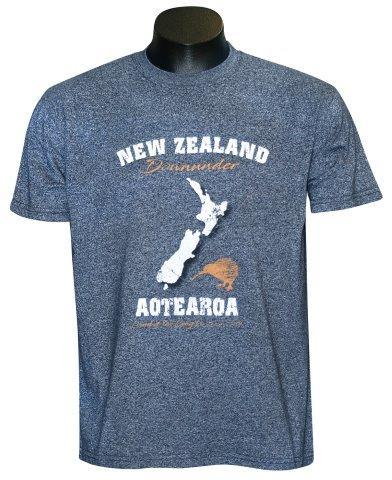 PK-70340 - T-Shirt Sea to Sky Map Navy Marl Mens - New Zealand Gifts & Souvenirs