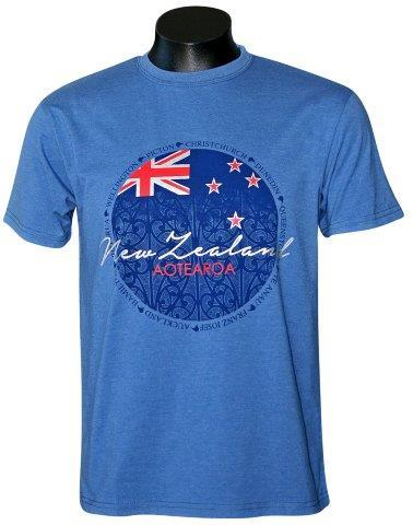 PK-70350 - T-Shirt Sea to Sky Aotearoa Circle Mid Blue Mens - New Zealand Gifts & Souvenirs