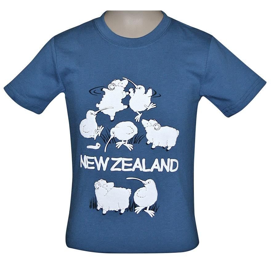 PK-70355 - Kids T-Shirts - Night Glow Atlantic Kiwi Sheep - New Zealand Gifts & Souvenirs