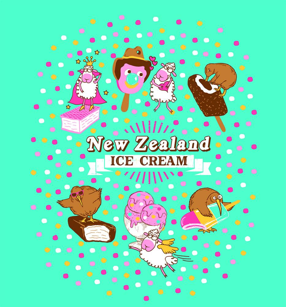 PK-70446 - Kids T-Shirts - New Zealand Ice Cream Turquoise - New Zealand Gifts & Souvenirs