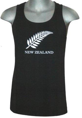 PK-77703 - Mens Singlet Silver Fern Black Small - New Zealand Gifts & Souvenirs