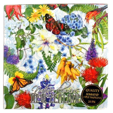 PK-80591 - Paper Napkins Native Flowers - New Zealand Gifts & Souvenirs