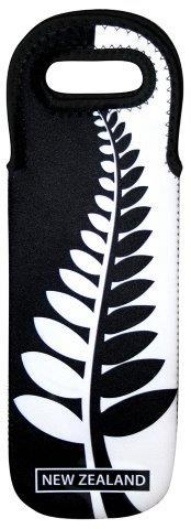 PK-82285 - Wine Bottle Cooler Black White Fern - New Zealand Gifts & Souvenirs