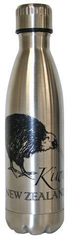 PK-82289 - Novelty Thermo Water Bottle Kiwi Silver - New Zealand Gifts & Souvenirs