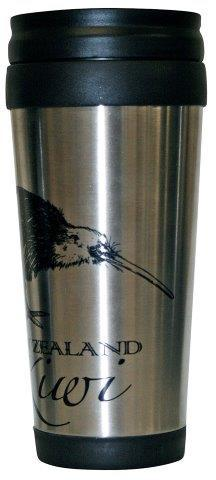 PK-82291 - Novelty Coffee Holder Stainless Kiwi Silver - New Zealand Gifts & Souvenirs