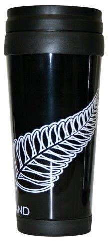 PK-82292 - Novelty Coffee Holder Stainless Fern Black - New Zealand Gifts & Souvenirs