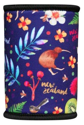 PK-82321 - Novelty Stubby Holder Watercolour Kiwi Flowers - New Zealand Gifts & Souvenirs