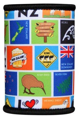 PK-82323 - Novelty Stubby Holder NZ Squares - New Zealand Gifts & Souvenirs