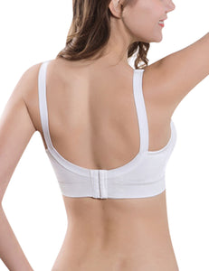 PrettyMums - Feminine Scoop Neck Nursing Bra (White)