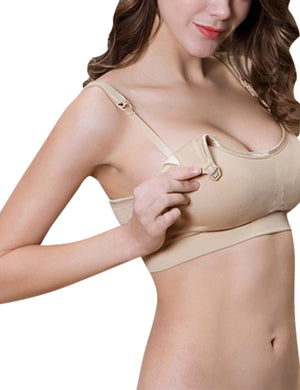 PrettyMums - Feminine Scoop Neck Nursing Bra (Nude)