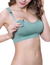 Load image into Gallery viewer, PrettyMums - Feminine Scoop Neck Nursing Bra (Green)