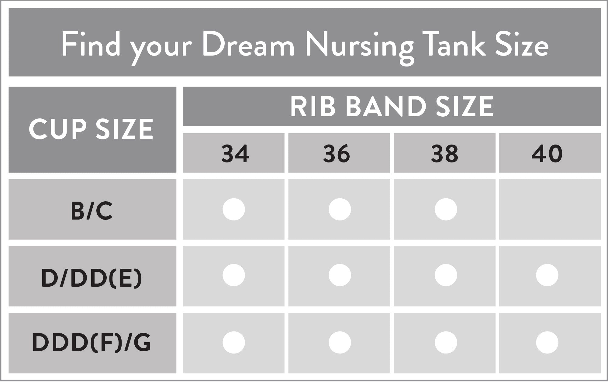 Dream size chart