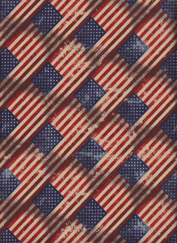 Made in USA Antique Diagonal Flag fabric