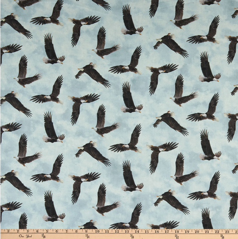 Northcott When Eagles Soar Tossed Eagles Blue Gray Multi fabric