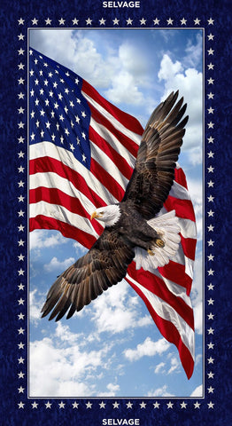 Timeless Treasures Patriotic Eagle Panel fabric