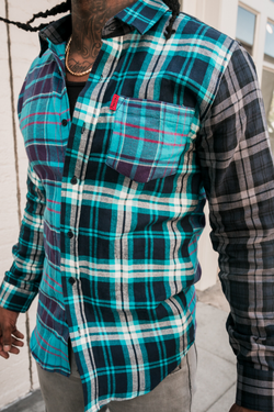 Tricolor Flannel Shirt (Blue)
