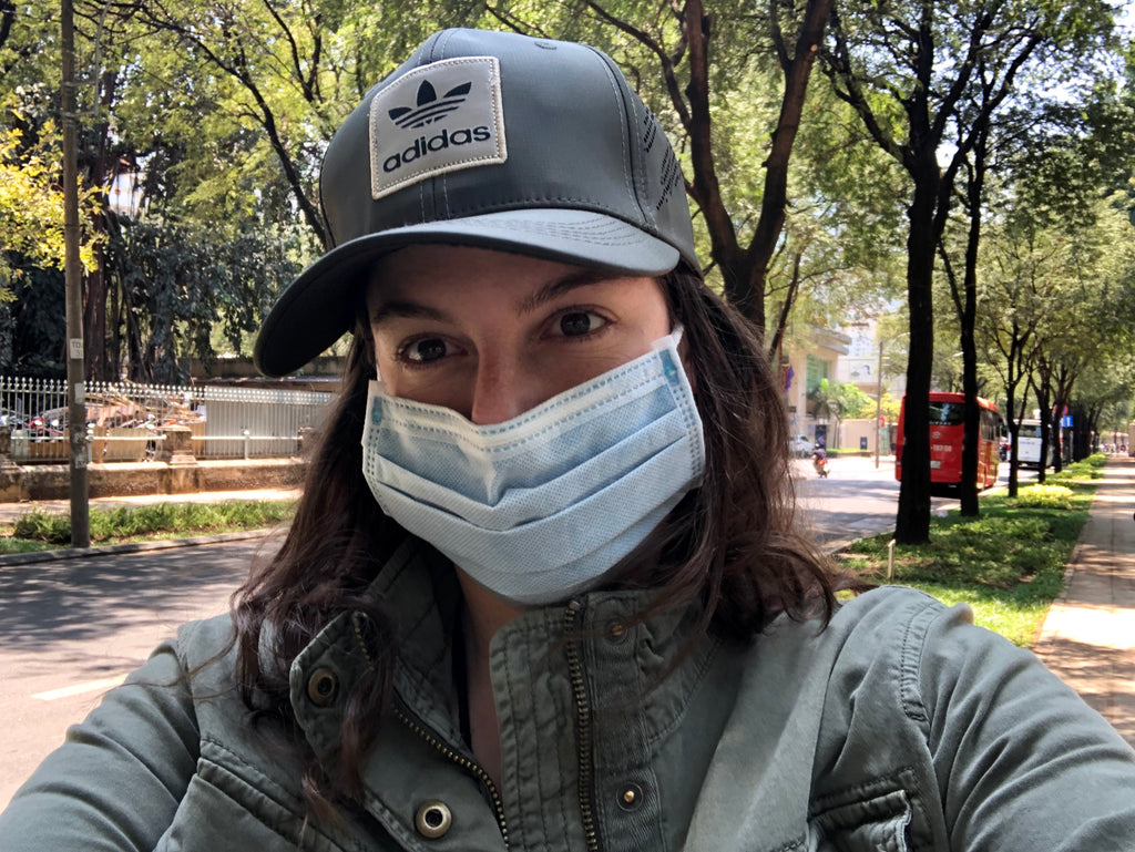 Kate with mask in Saigon