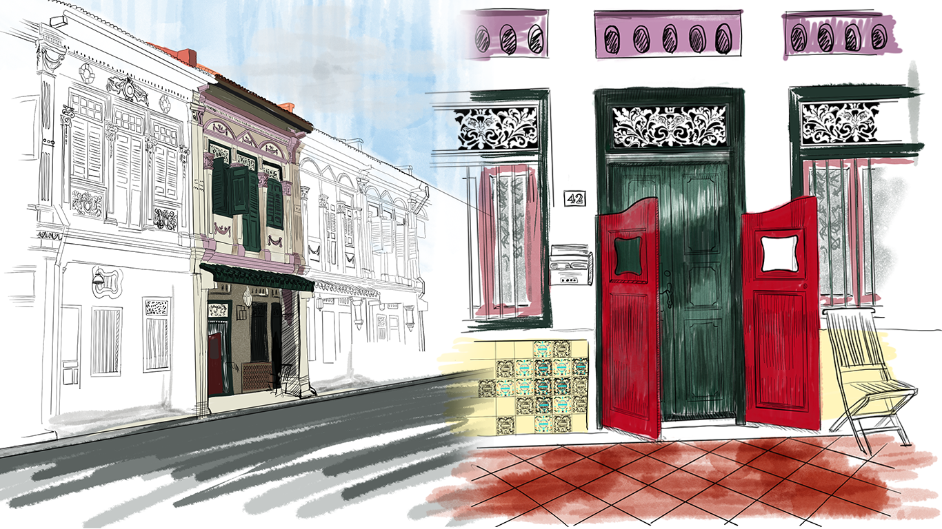peranakan building sketch