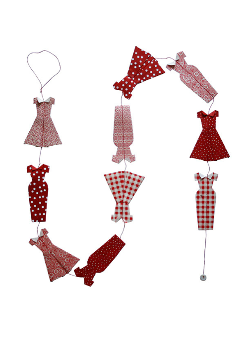 Hanging Garland Red Dresses - Liberties Papers