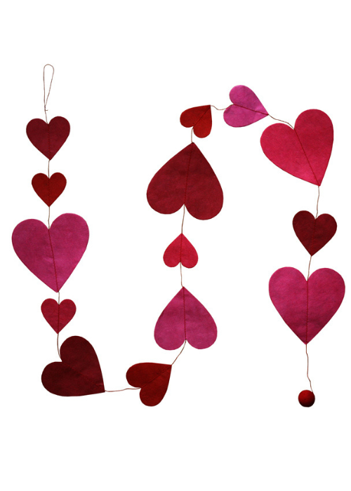 Hanging Garland Red Hearts - Liberties Papers