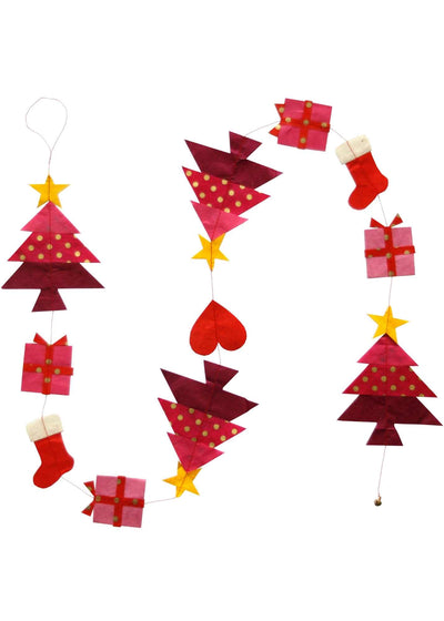 Hanging Garland Dancing Christmas Trees Cheerful - Liberties Papers