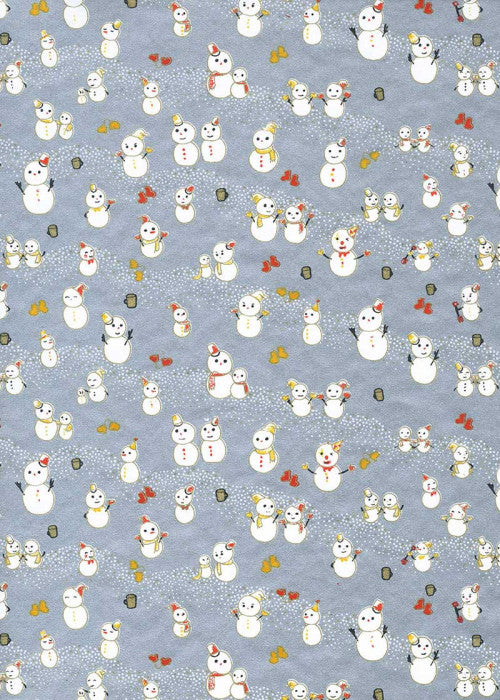 Chiyogami Silver Snowman family - Liberties Papers