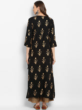 Load image into Gallery viewer, Women Black & Gold-Toned Printed Kurta with Trouser (PREORDER 2-4 WEEKS DELIVERY)
