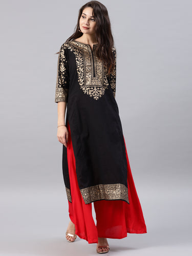 Black printed kurta Only (2-5 weeks delivery)