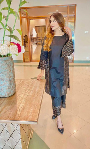 Black Floral Block Printed Kurta And Sharara Set