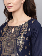 Load image into Gallery viewer, Women Navy Blue & Golden Printed Kurta with Trouser (PREORDER 2-4 WEEKS DELIVERY)