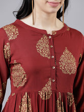 Load image into Gallery viewer, Women Maroon & Beige A-Line Dress (2-5 weeks delivery)