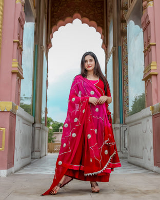 Red Pink Gotapatti Suit Set (2-5 weeks delivery)
