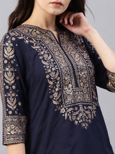 Load image into Gallery viewer, Blue printed kurta Only