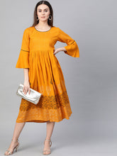 Load image into Gallery viewer, Yellow printed  A-line dress, has a round neck
