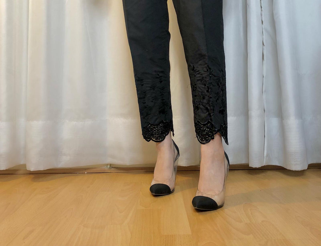Scallop Trouser Black