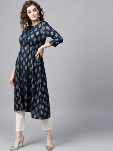 Blue Gold Printed Frock & White Trouser (PREORDER 2-4 WEEKS DELIVERY)