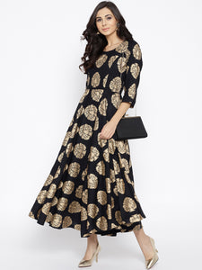 Women Black & Golden Printed Maxi Dress (PREORDER 2-4 WEEKS DELIVERY)