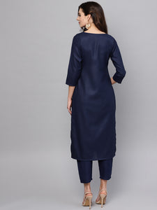 Women Navy Blue & Golden Printed Kurta with Trouser (PREORDER 2-4 WEEKS DELIVERY)