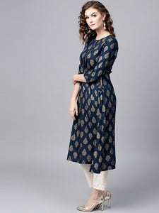 Blue Gold Printed Frock & White Trouser