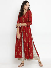 Load image into Gallery viewer, Women Red & Off-White Printed Kurta with Palazzos (PREORDER 2-4 WEEKS DELIVERY)