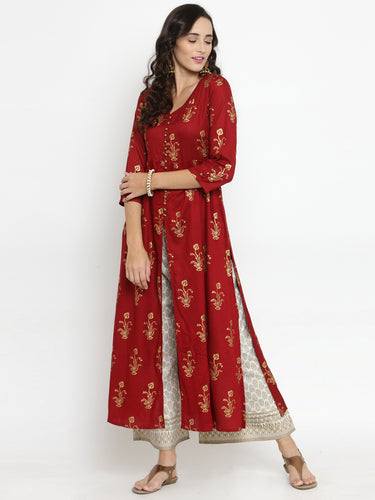 Women Red & Off-White Printed Kurta with Palazzos