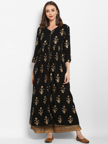 Women Black & Gold-Toned Printed Kurta with Trouser