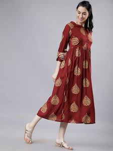 Women Maroon & Beige A-Line Dress (2-5 weeks delivery)